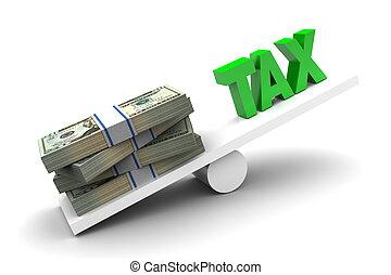 More money less tax illustration on white background