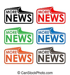 More news stock label, flat design. Colorful icon