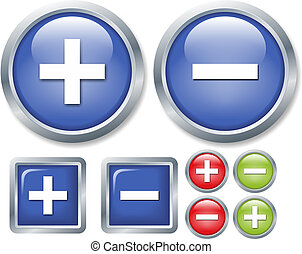 more or less - set of glossy buttons isolated on white ...