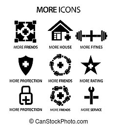 More stock icons. Flat set icon. vector.