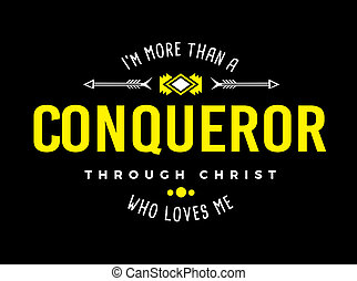 More than a Conqueror Christian Typography Art Emblem Design...