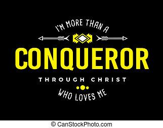 More than a Conqueror Christian Typography Art Emblem Design...