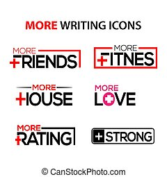 More writing stock icons. Flat set icon. vector.