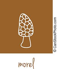 morel icon on brown square