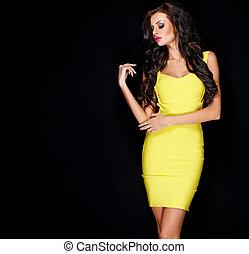 morena, adelgaçar, amarela, posar, excitado, vestido