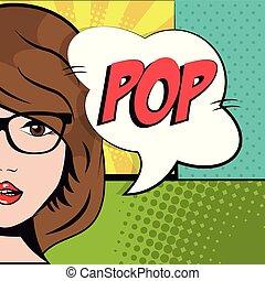 morena, arte, estouro, fala, cômico, bolha, menina, óculos
