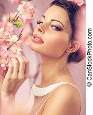 morena, beautie, com, a, flores