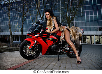 morena, &, bicicleta