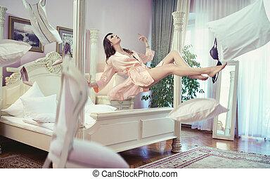 morena, dela, levitating, quarto, excitado, senhora