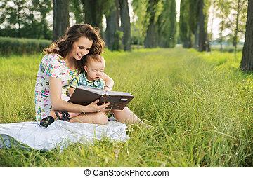 morena, dela, tales, criança, mãe, leitura