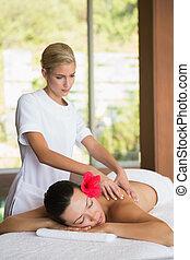 morena, desfrutando, massag, calmo