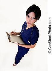 morena, enfermeira