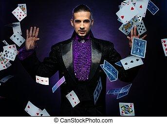 morena, etapa, tarjeta, joven, engaños, disfraz, actuación, mago