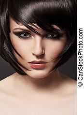 morena, girl., hair., hairstyle., sano, hermoso
