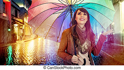 morena, guarda-chuva, coloridos, na moda