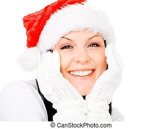 morena, inverno, sobre, natal, mulher sorri, branca, roupas
