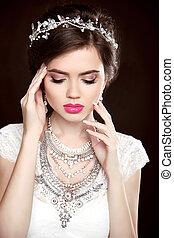 morena, jóia, luxo, beautyfashion, menina, maquilagem, pretas, diamante, modelo, woman., jewelry., isolado, retrato, experiência., elegante