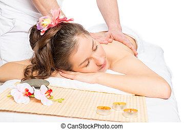 morena, ligado, tabela massagem, relaxante, durante, a, massagem, em, a, spa