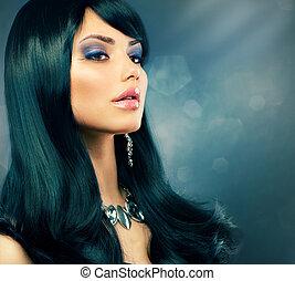 morena, luxo, girl., saudável, longo, cabelo preto, e, feriado, maquilagem