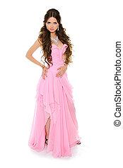 morena, menina, desgastar, isolado, branca, vestido cor-de-rosa, bonito