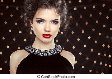 morena, moda, jóia, portrait., modelo, hairstyle., elegante