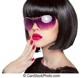 morena, modelo, em, moda, sunglasses., bonito, glamour, mulher, wi