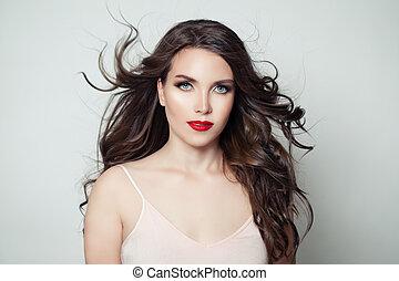 morena, modelo, mulher, com, longo, perfeitos, cabelo, e, lábios vermelhos, maquilagem, branco, fundo