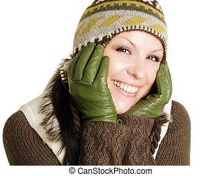 morena, mulher closeup, inverno, sorrindo, roupas