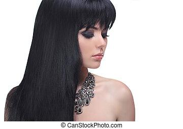 morena, mulher, com, saudável, cabelo longo, isolado, branco, fundo