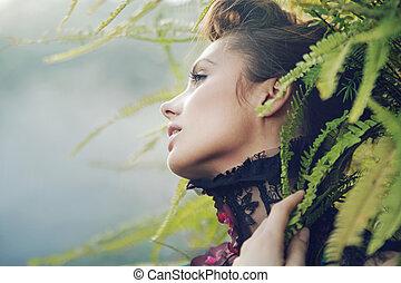 morena, mulher, em, a, floresta tropical