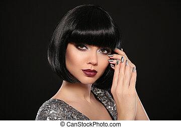 morena, nails., maquillaje, pelo, labios, moda, polaco, retrato, resplandor, su, estilo, joyas, set., aislado, fondo., mujer negra, hairstyle., belleza, plata, cortocircuito, presentación, manicured, mover