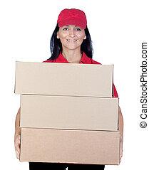 morena, negociante, uniforme vermelho