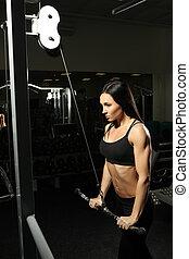 morena, niña, cuerpo, tríceps, perfecto, condición física, ...