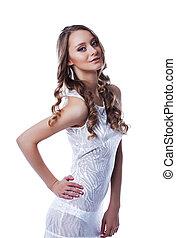 morena, slinky, posar, elegante, vestido branco