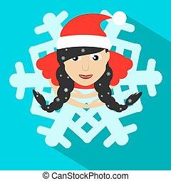 morena, sobre, ilustración, navidad, vector, santa, año, nuevo, niña, copo de nieve, vista
