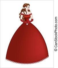 morena, vestido, princesa, vermelho