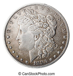 Morgan Dollar - Heads Frontal - Frontal view of the obverse...
