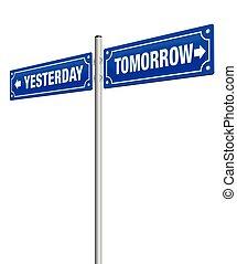 morgen, gisteren, wegaanduiding