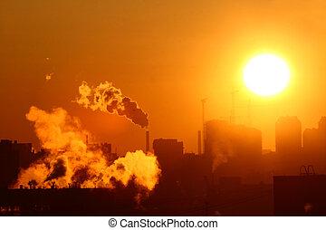morgen, het verwarmen, uitstoten
