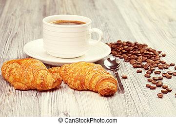 morgen, mahlzeit, mit, a, tasse kaffee