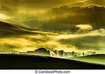 morgen, nebel, in, der, tal, von, der, tuscan