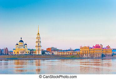 morgen, panoramische ansicht, von, stadt, von, rybinsk,...