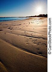 morgen, setzen szene strand