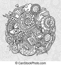 morgen, spotprent, doodles, routine
