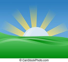 morgen, zonneschijn, illustratie