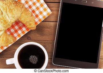 morgenkaffee, becher, mit, digital tablette, für, geschaeftswelt, arbeit, direkt, above.