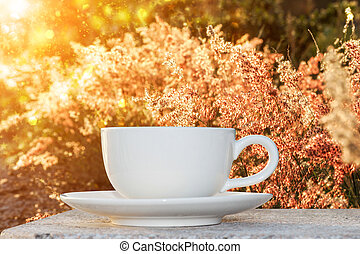 morgenkaffee, und, gras, blume