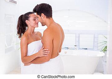 morgon, attraktiv, krama koppla