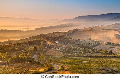 morgon, dimma, över, tuscan, land, italien