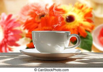 morgon kaffe, i trädgården